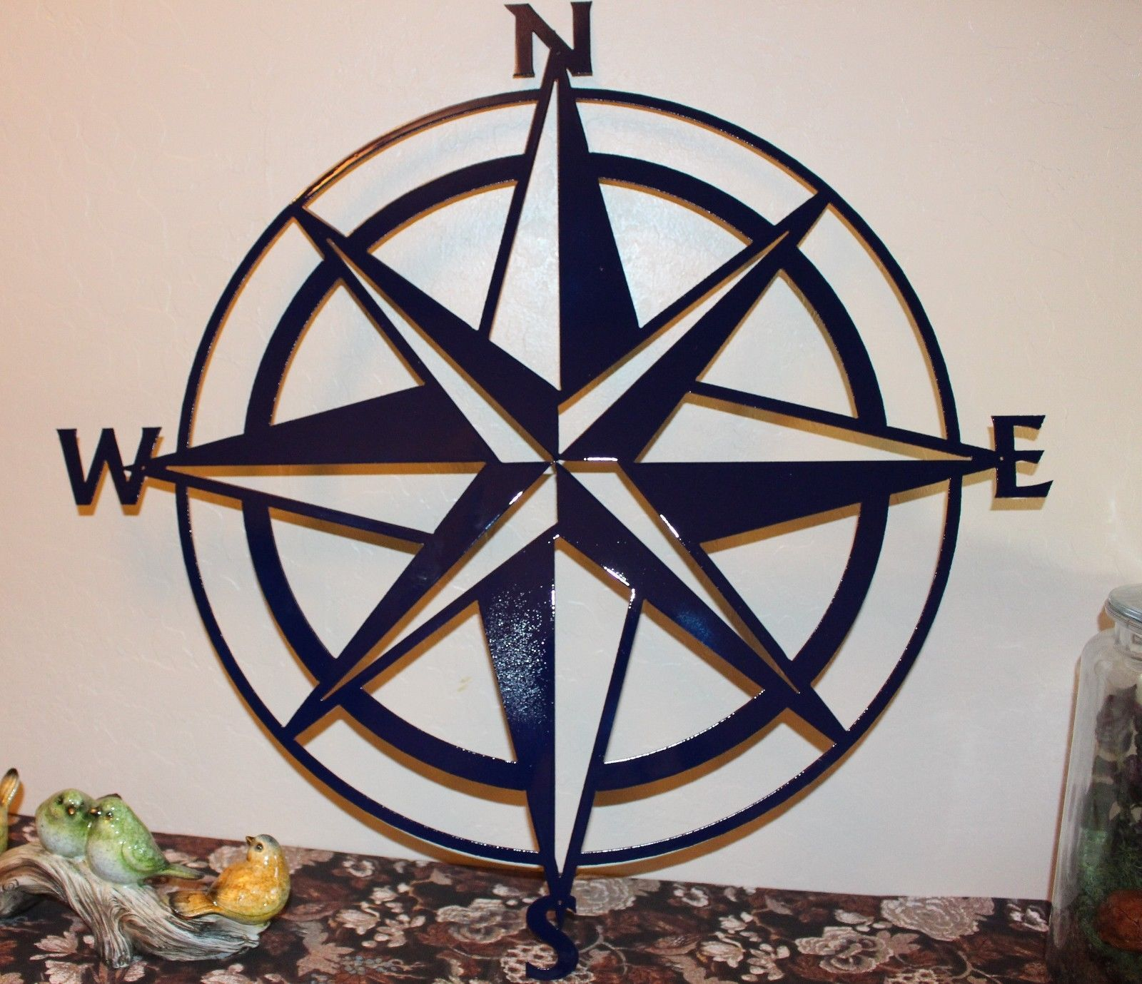 "Nautical COMPASS ROSE WALL ART DECOR 34"" Navy Blue - Wall ..."