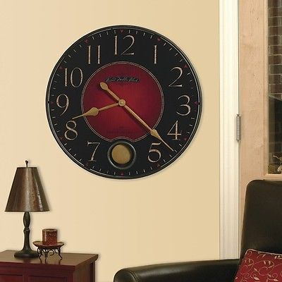 Oversized Wall Clock Large Modern Dark Red Black Living Room Round Big ...