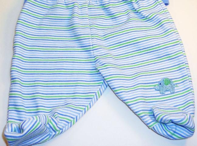 Image 2 of Okie Dokie Boys shirt footie pants set blue stripe elephant New born