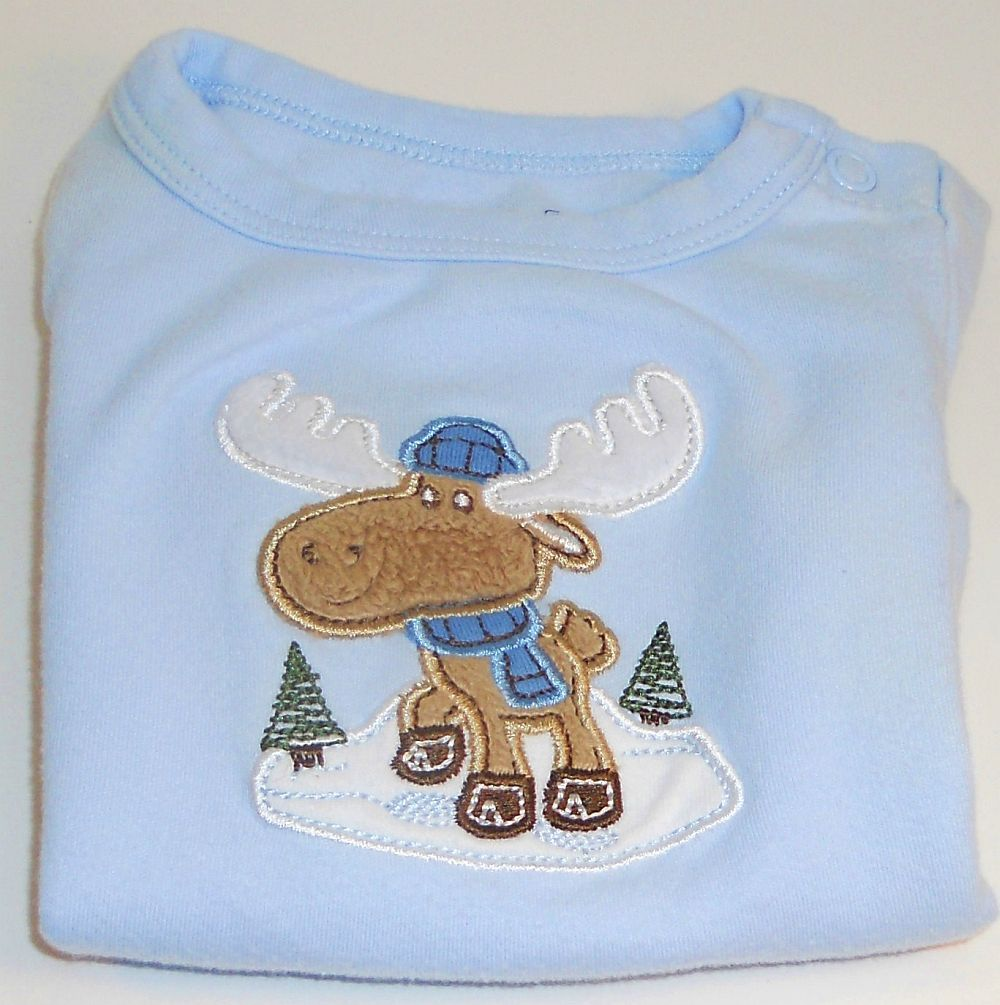 Image 1 of Garanimals blue onesie long sleeve moose striped pants New Born