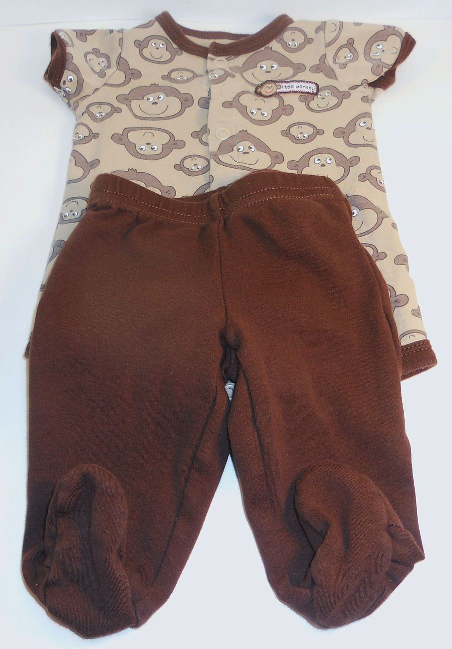 Image 0 of Carters Little Monkey onesie footie pants outfit New Born