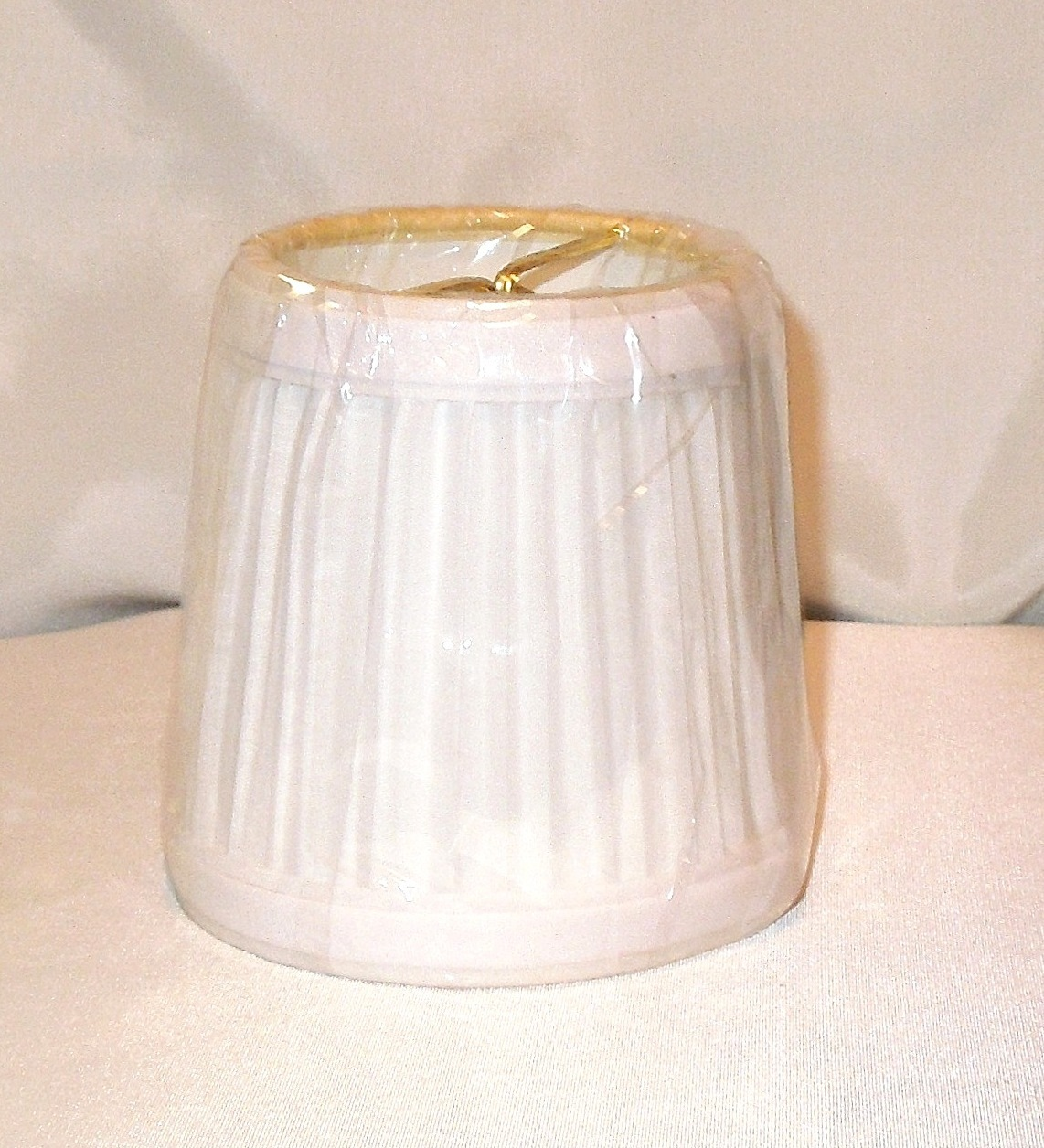 get two vintage mini lamp shade with white pleated fabric. Black Bedroom Furniture Sets. Home Design Ideas