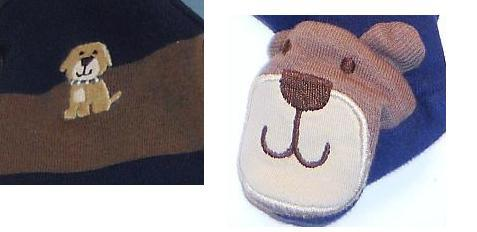 Image 1 of Carter's boys blue brown shirt puppy footie pants outfit New Born
