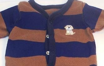 Image 2 of Carter's boys blue brown shirt puppy footie pants outfit New Born