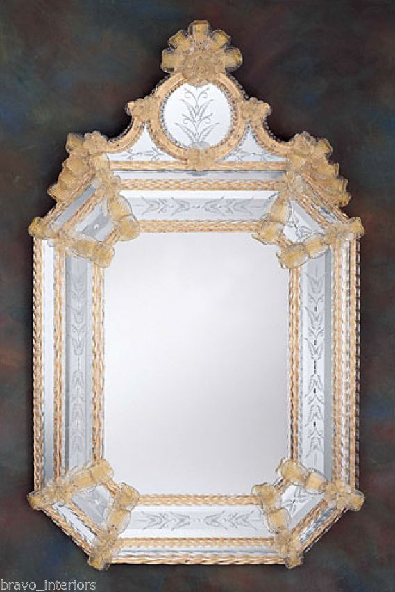 "Venetian Mirror Hand Etched made in ITALY 43"" H 27"" W Gold Leaf Glass ..."
