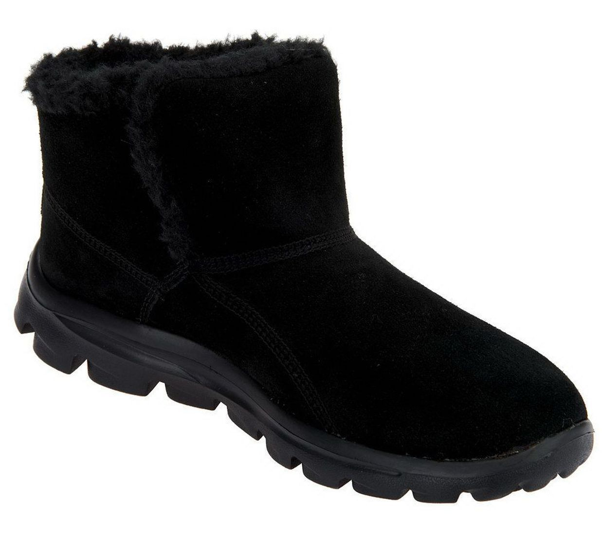 Skechers Gowalk Comfy Suede Ankle Boots Faux Fur Lining