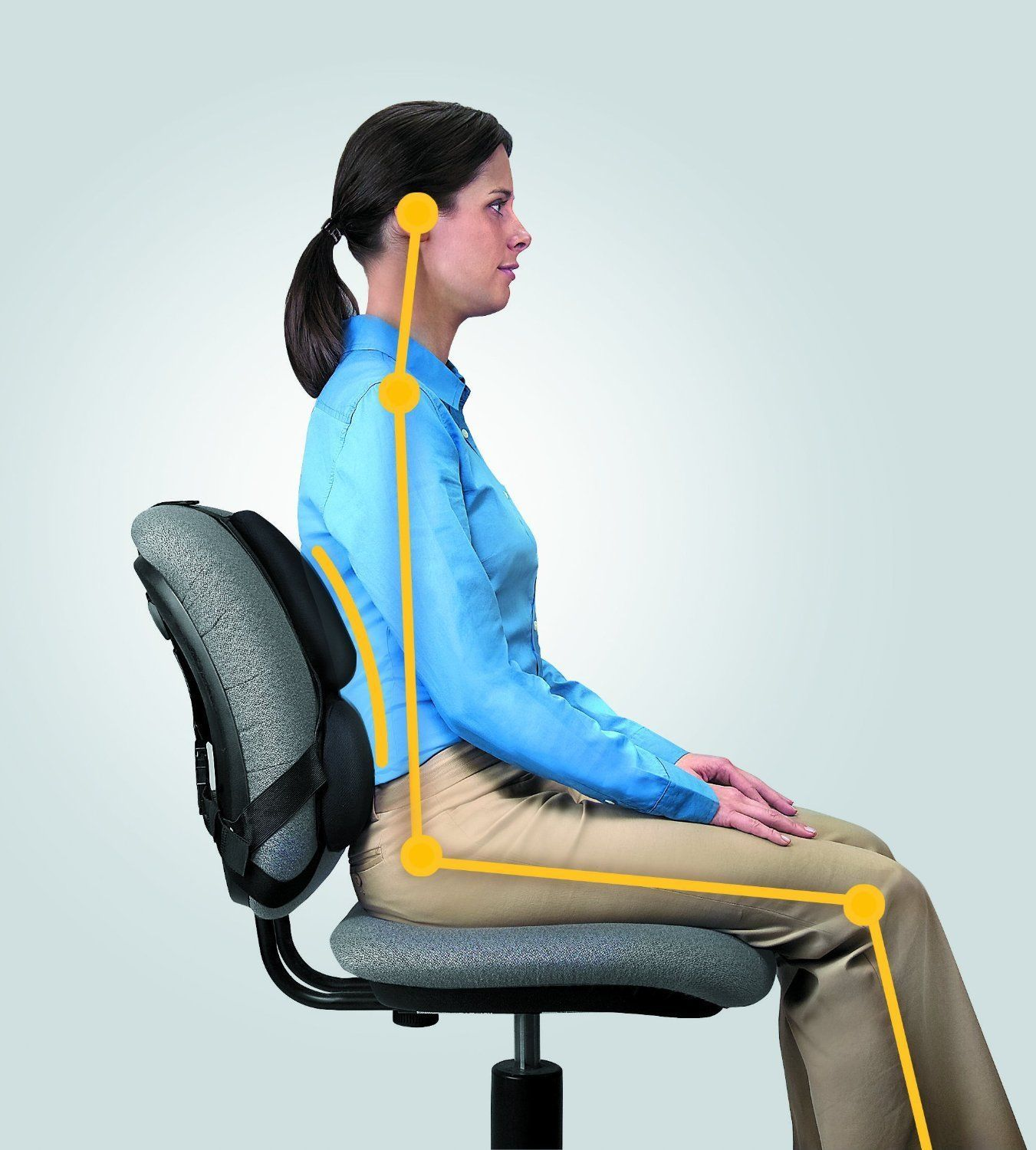 Strap On Chair Back Support Desk Ergonomic Lumbar Office ...
