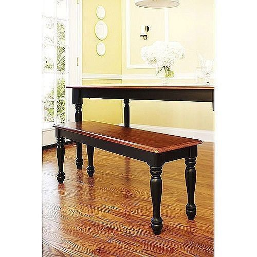 wood dining set 3 piece table bench benches chairs stained oak black