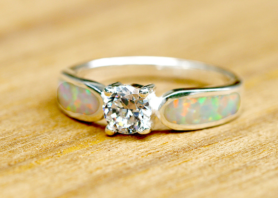 Engagement Ring Opal Ring Geode Ring October Birthstone Birthstone