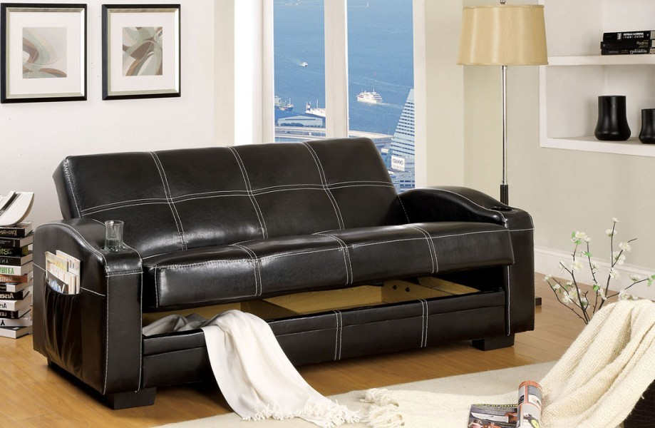 convertible futon sofa bed with cup and magazine holder. Black Bedroom Furniture Sets. Home Design Ideas
