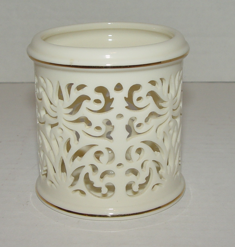 Lenox China Pierced Tealight Candle Holder Ivory With Gold