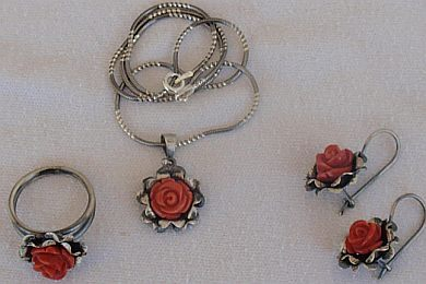 Coral flowers silver set
