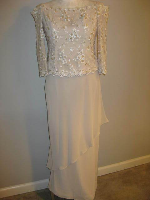 Davids Bridal Champagne Lace Sequin Floral Gown Size 6 New