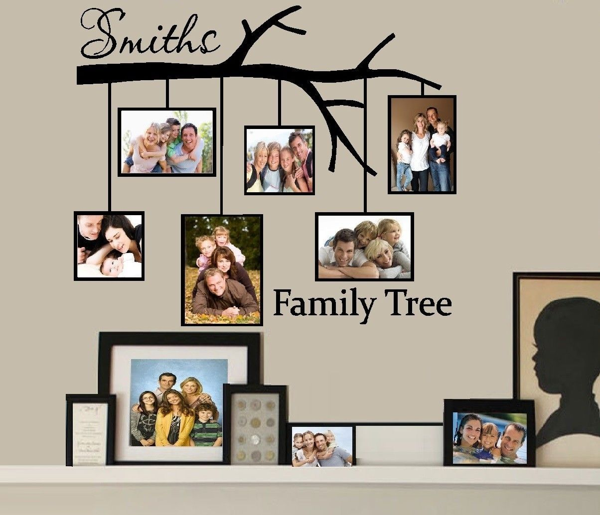 Family Tree with Picture Frames: Custom Name ~ Wall or ...