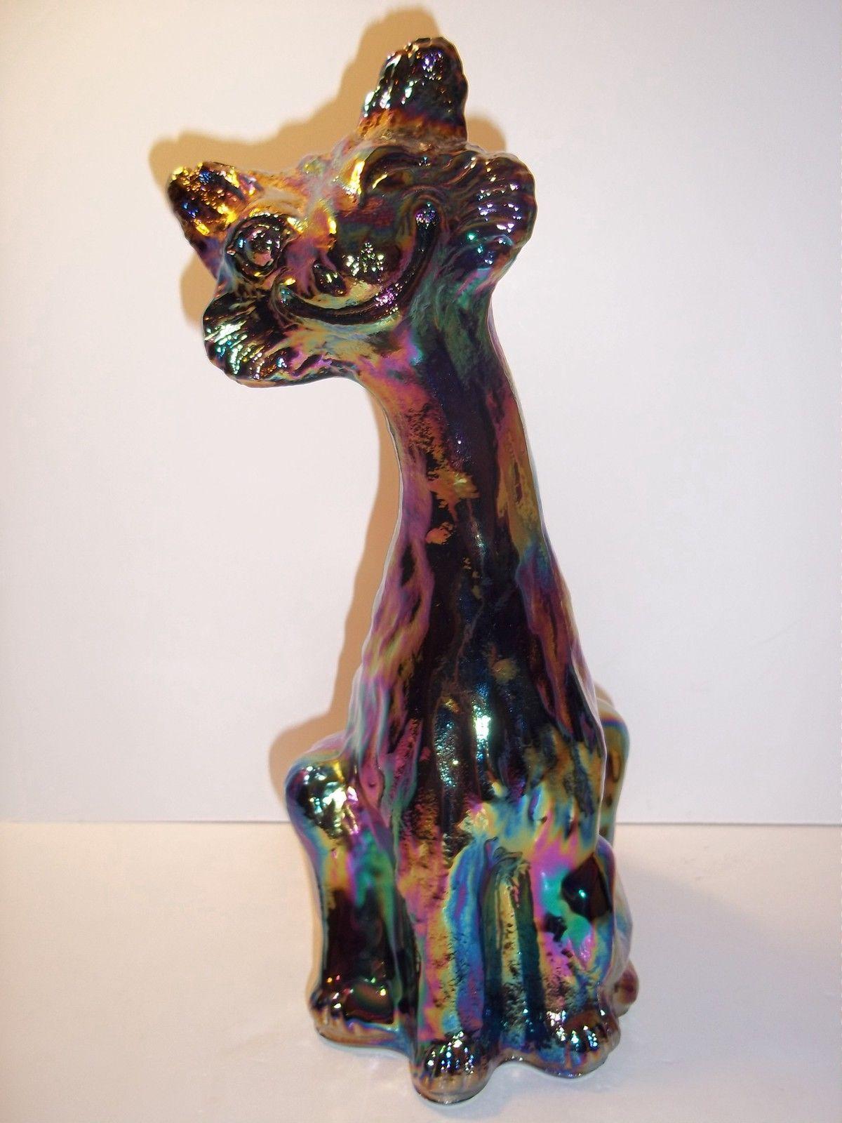 Fenton glass black carnival iridized alley cat figurine