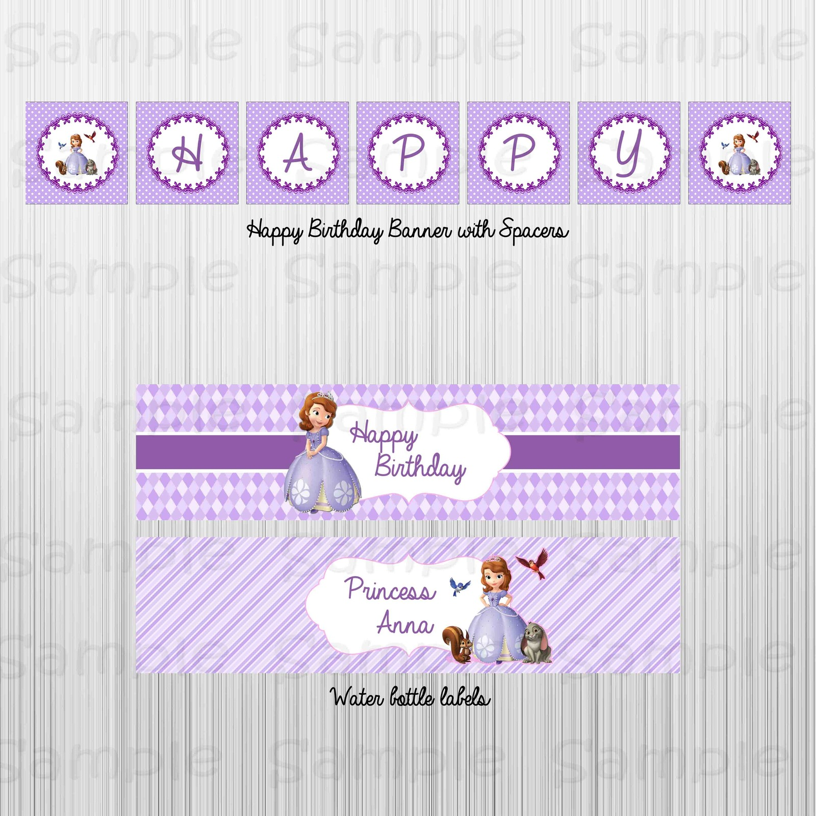 Printable sofia the first birthday party package for 1st birthday decoration packages