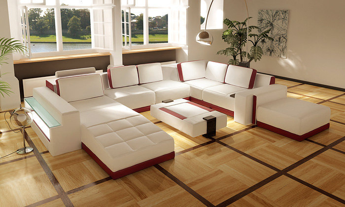 Contemporary White And Red Leather Living Room Furniture Set Model FY7494