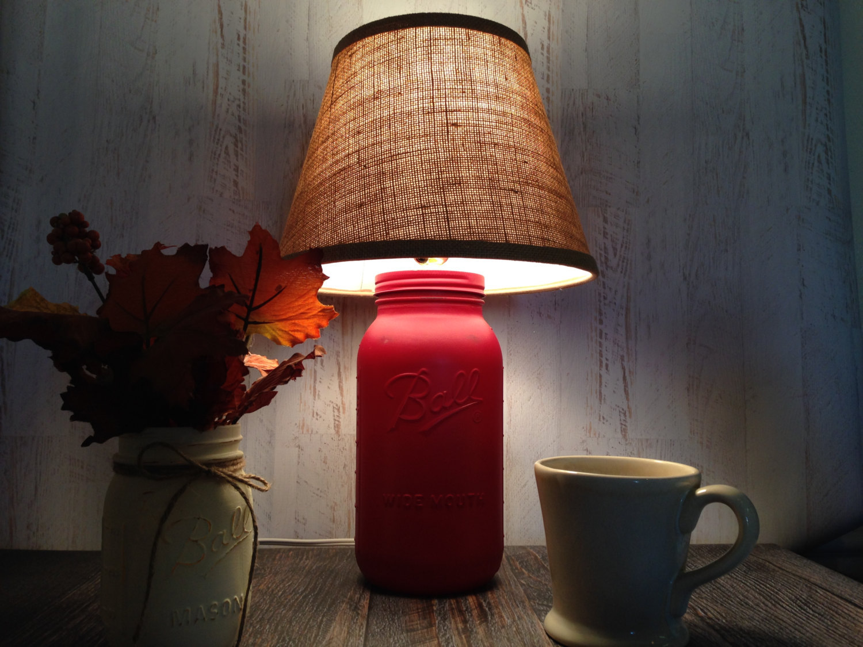 mason jar barn red table lamp burlap shade rustic farm country. Black Bedroom Furniture Sets. Home Design Ideas