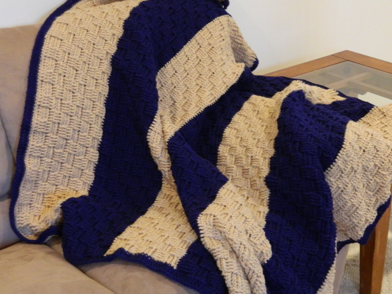 Blanket - Crochet Afghan - Basket Weave - Full Size - Blue ...