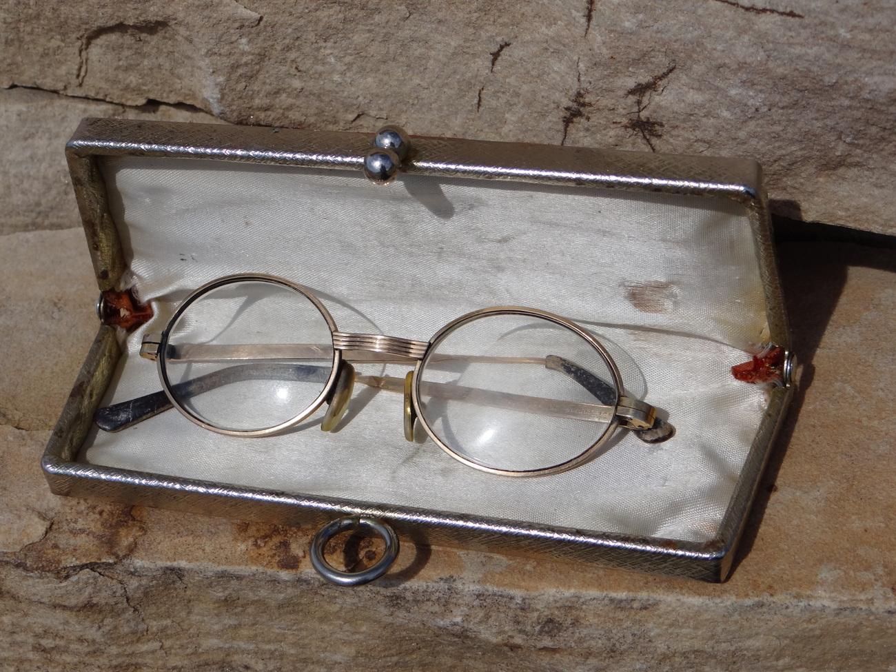 Vintage Gold Frame Glasses : pair of vintage antique OTTET Frame France 14K gold ...