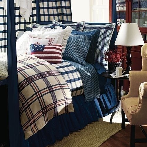 Ralph Lauren Talmadge Hill Plaid 7p Queen Comforter Set