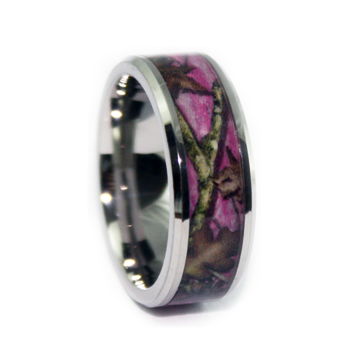 Pink camo ring bevel titanium camo rings hunting camo for Camoflauge wedding rings
