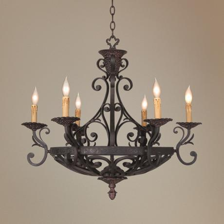 Kathy Ireland Black Iron Finish 6 Candelabra La Romantica