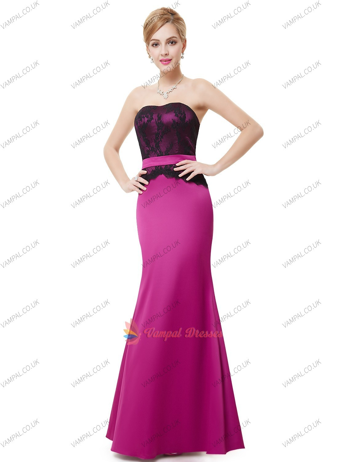 Black And Hot Pink Mermaid Strapless Floor Length Prom