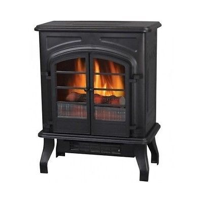 Old Fashioned Vintage Style Black Electric Wood Stove Fireplace Portable Heater Fireplaces