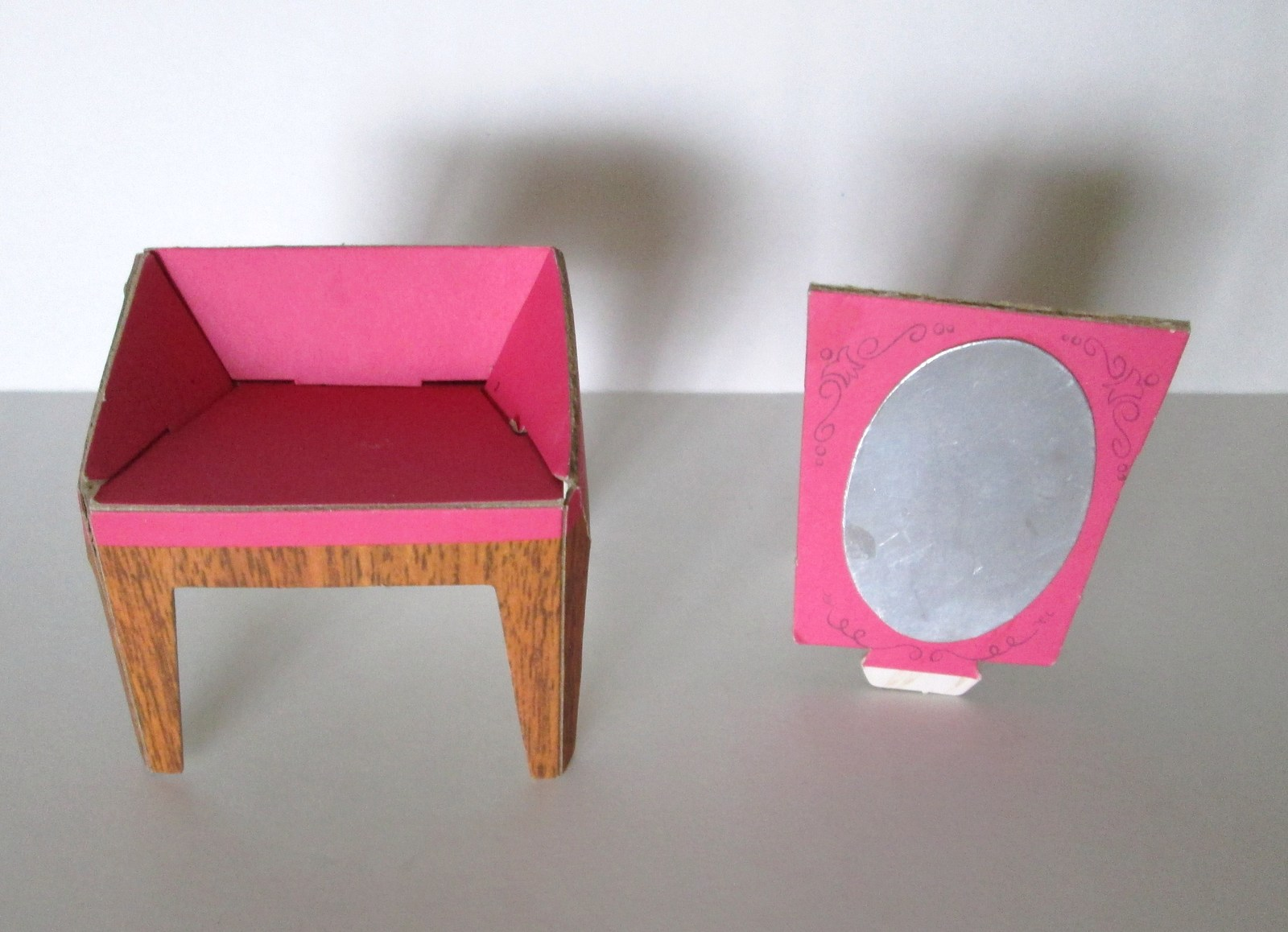 barbie 1962 dream house pink vanity chair with mirror