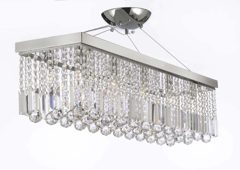 10 Light 40 Contemporary Crystal Chandelier Rectangular