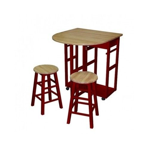 piece kitchen island dining set red table chairs wood breakfast nook