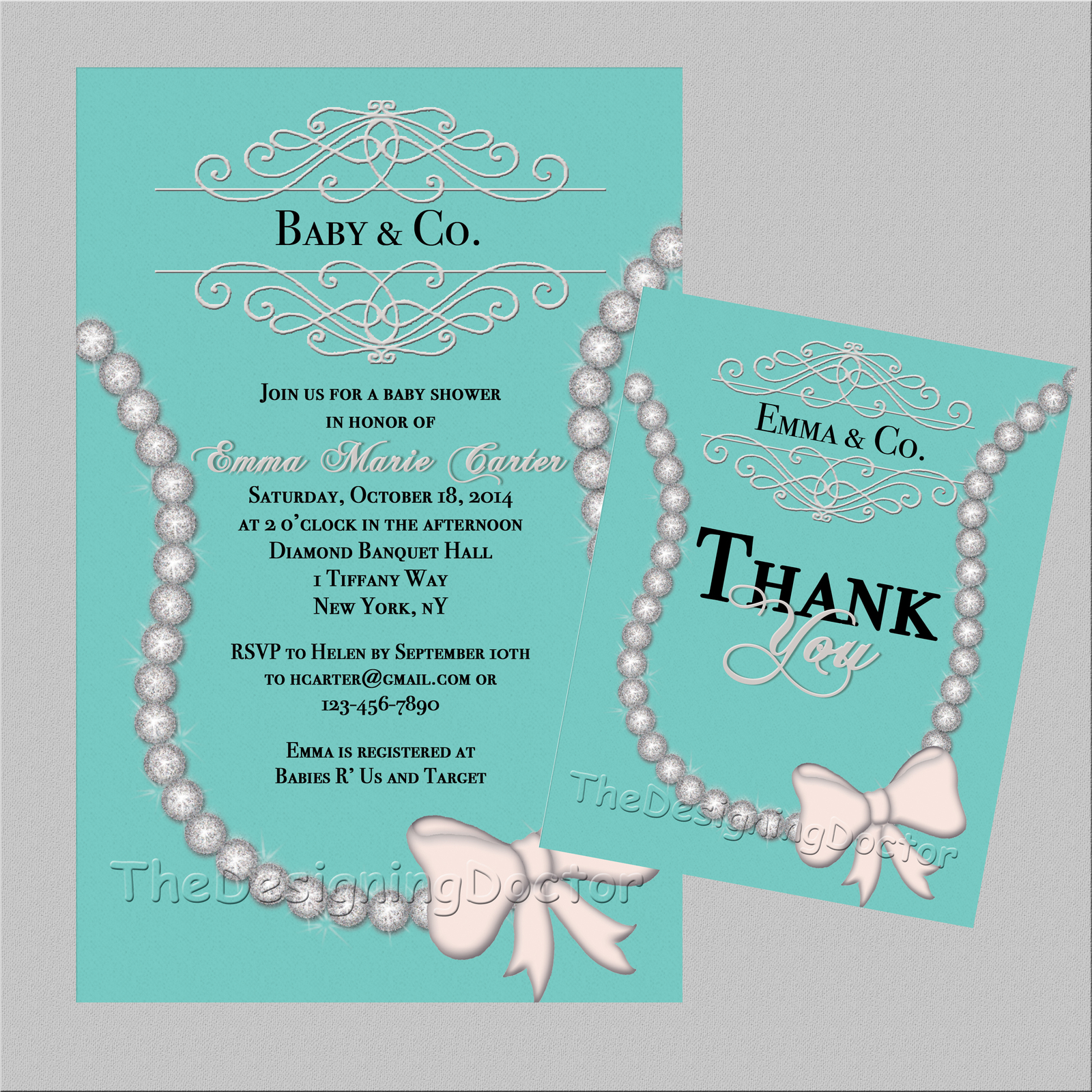necklace baby and co baby shower invitaton thank you printable file