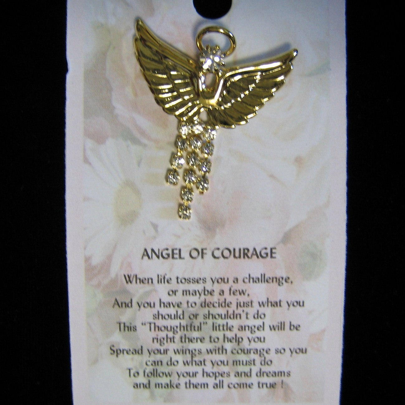 Angel of Courage Pin Dangling Crystal Gold