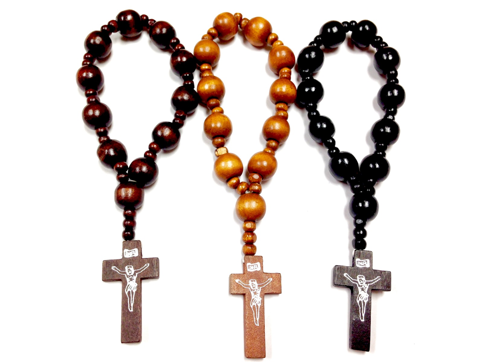 St Benedict Round Beads Brown Wood/Brown Cord ROSARY with ...  |Brown Rosaries