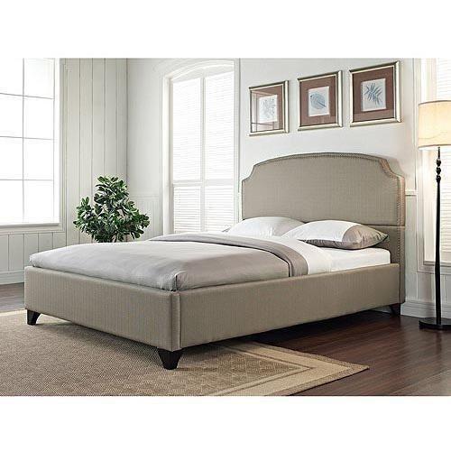Cal King Platform Bed Grey Stone Upholstered Nailhead Gray