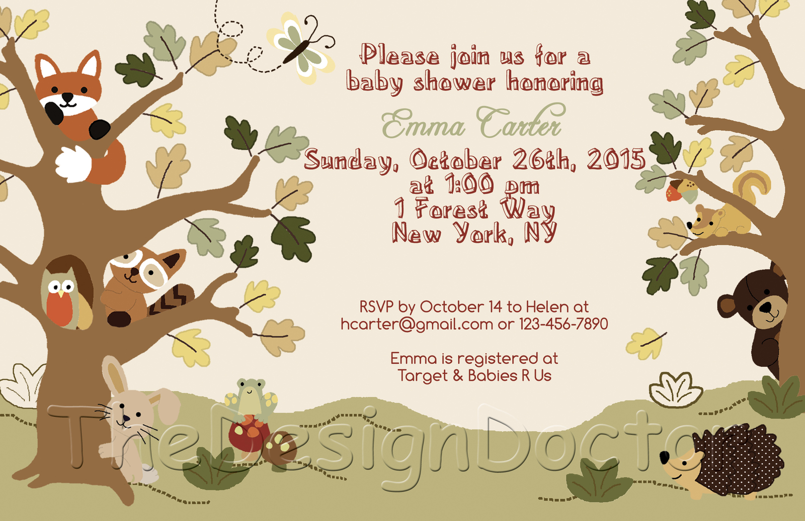 woodland animal forest friends baby shower invitation thank you
