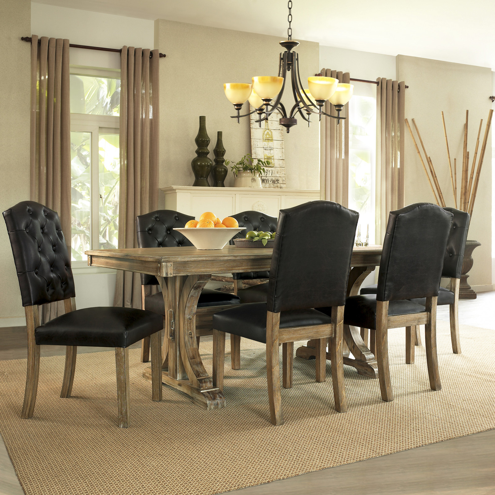 Rustic 5 Piece Living Dining Room Table Chair