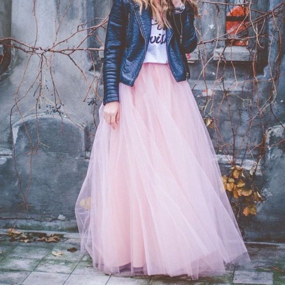 Blush pink full length wedding bridesmaid gown long tulle for How to make a long tulle skirt for wedding dress