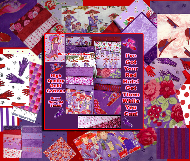 5 FQ Red Hat Society Quilt Cotton Fabric Sweet,Ladies