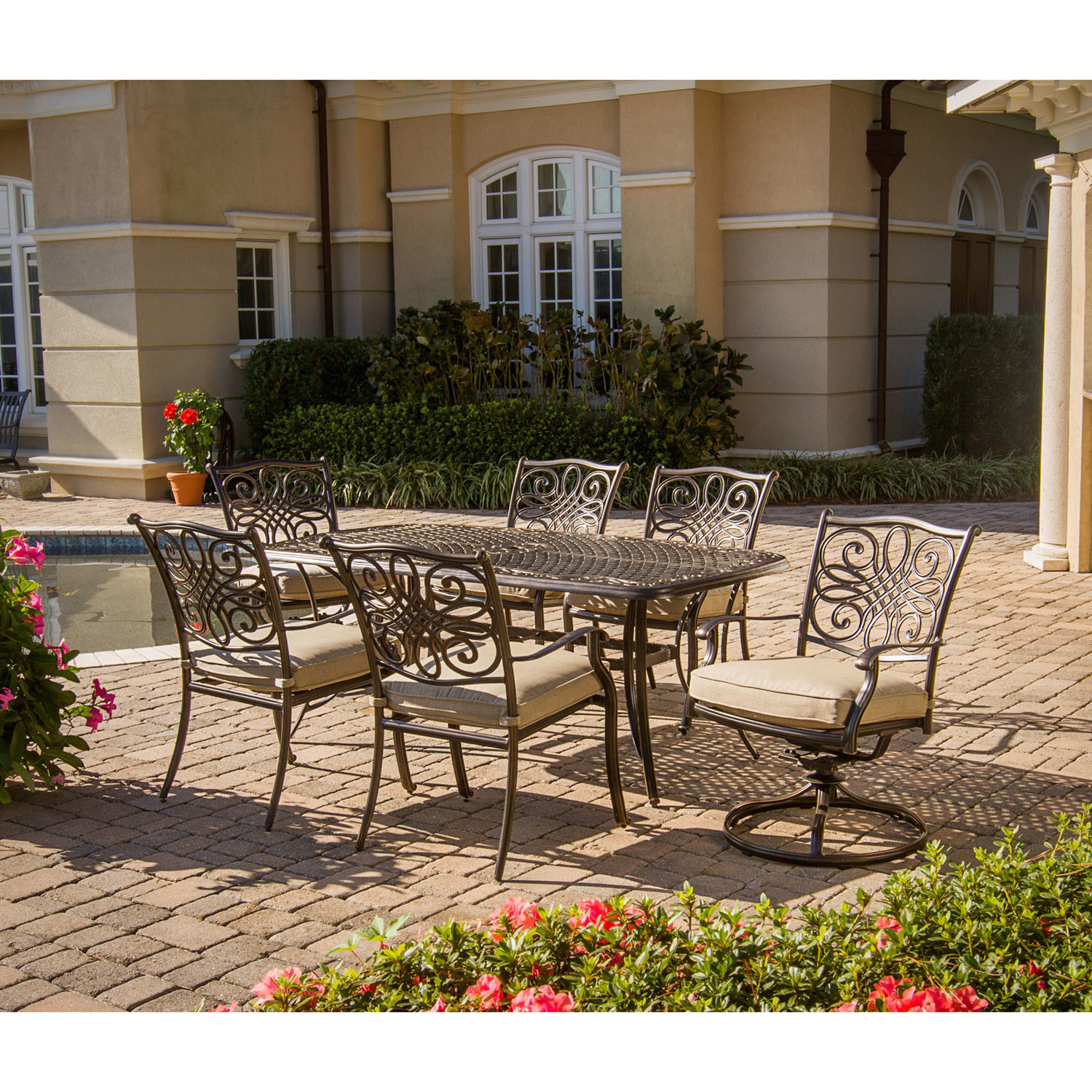 set dining 7 piece patio outdoor chairs table furniture cast