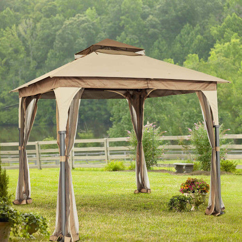 Steel gazebo canopy patio party tent mosquito netting - Small gazebo with netting ...