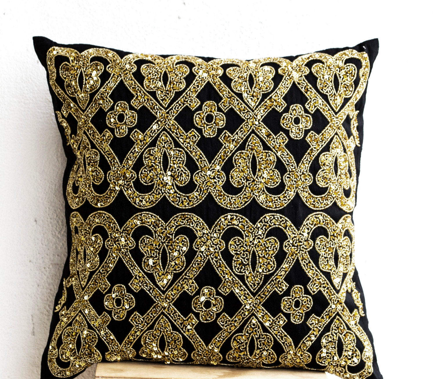 Decorative Throw Pillow Cover Black Gold Sequin Pillows Cushion Gold Pillow Gift - Pillows