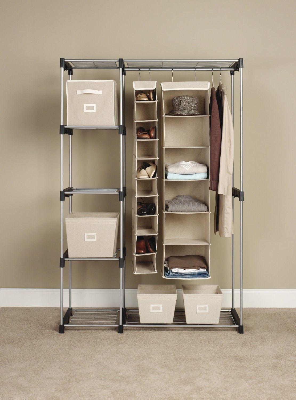 Closet organizer shoe clothes rack shelves wardrobe storage shelf garment space closet organizers - Clothes storage for small spaces ...