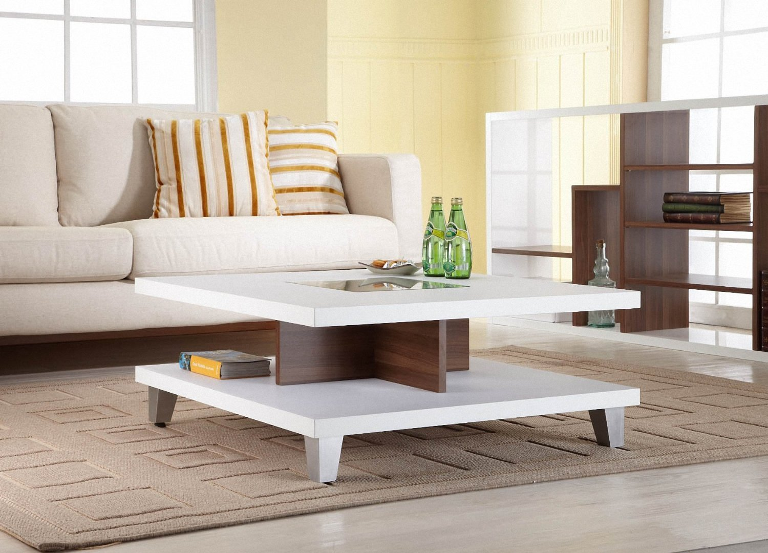 Elegant Modern Stylish White Coffee Table Cotemporary Furniture Living
