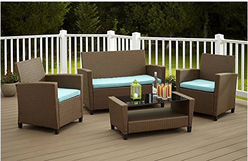 wicker patio set resin outdoor furniture 4 pc patio garden