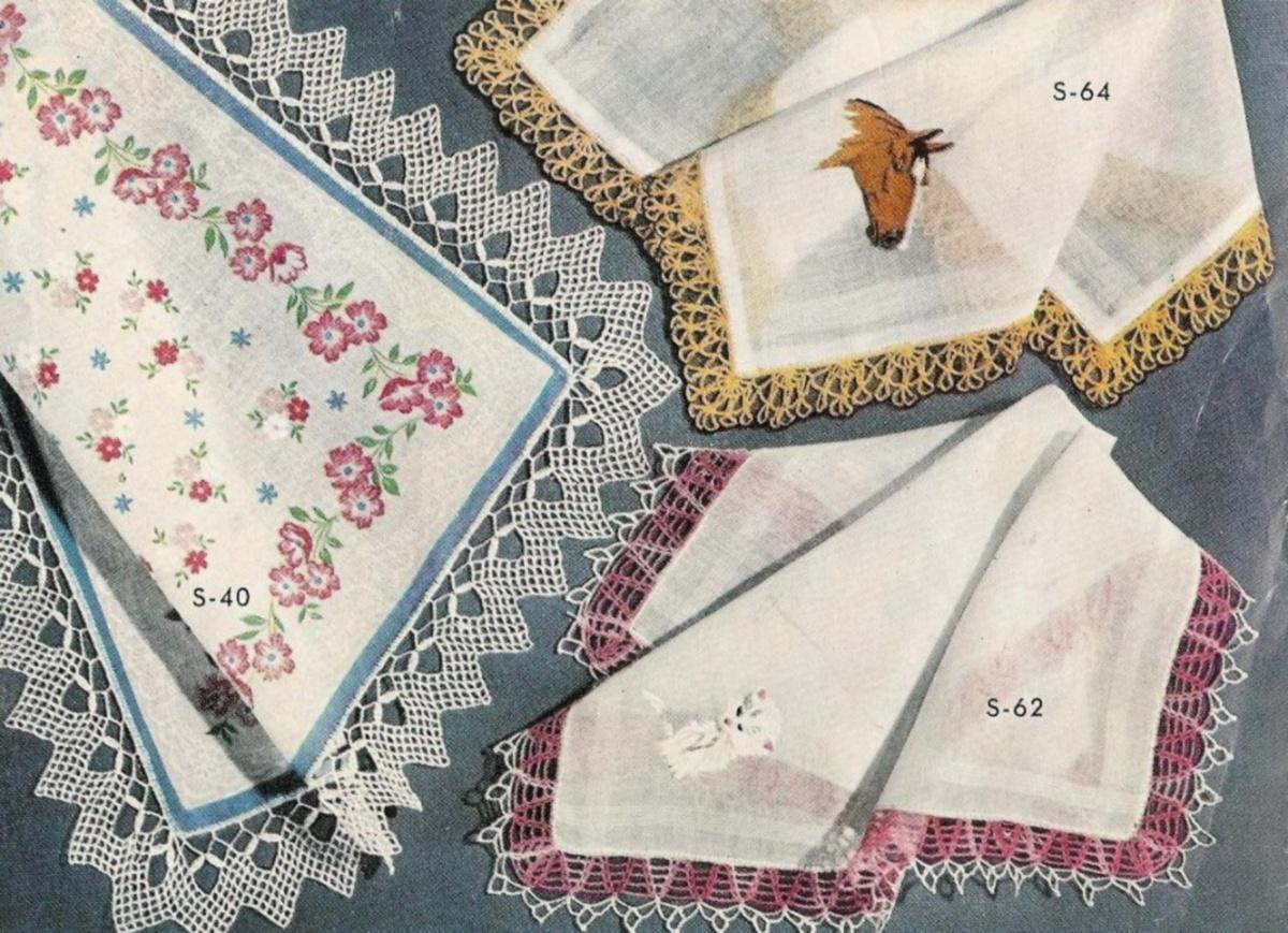 Vtg Crochet Hairpin Lace PATTERNS Edgings Handkerchief ...