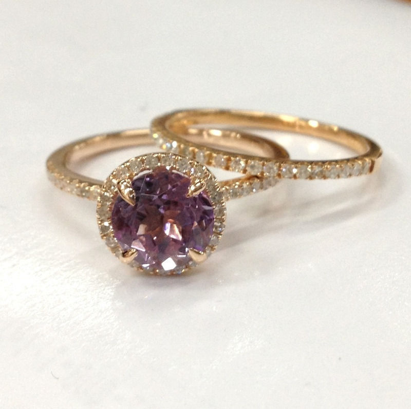 2 wedding ring setsamethyst diamond engagement matching for Amethyst diamond wedding ring set