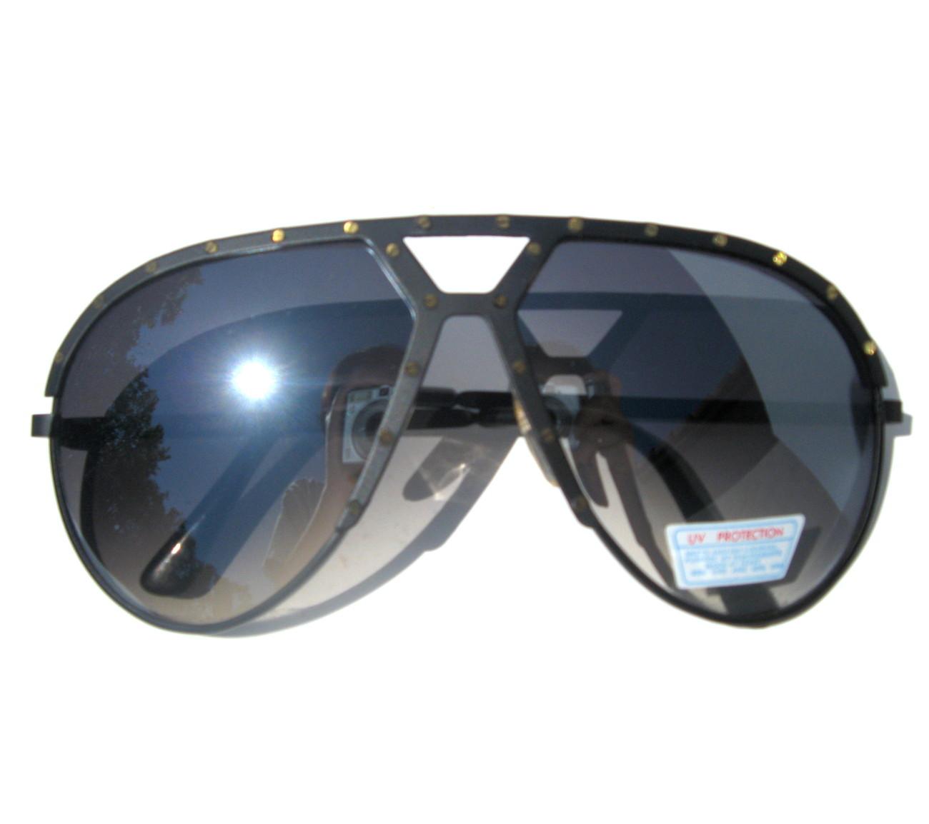 Black Studded Vintage Jay Z Hip Hop Aviator Sunglasses (Similar to Alpina M1)
