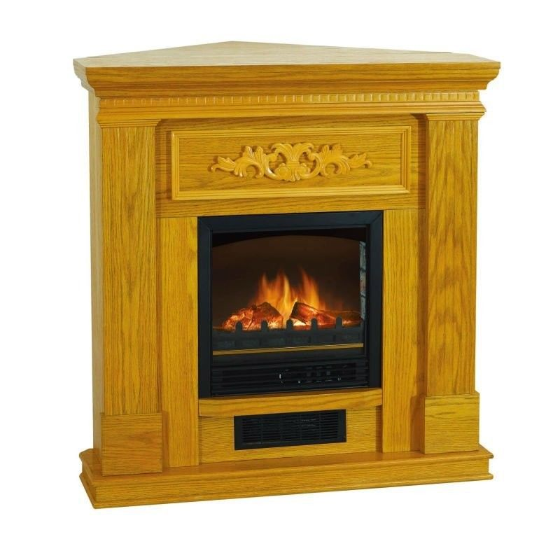 Electric fireplace heater oak 38 inch flat corner heater for Living room heater